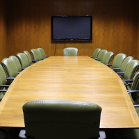 Room 359 shown in its fixed Boardroom setup