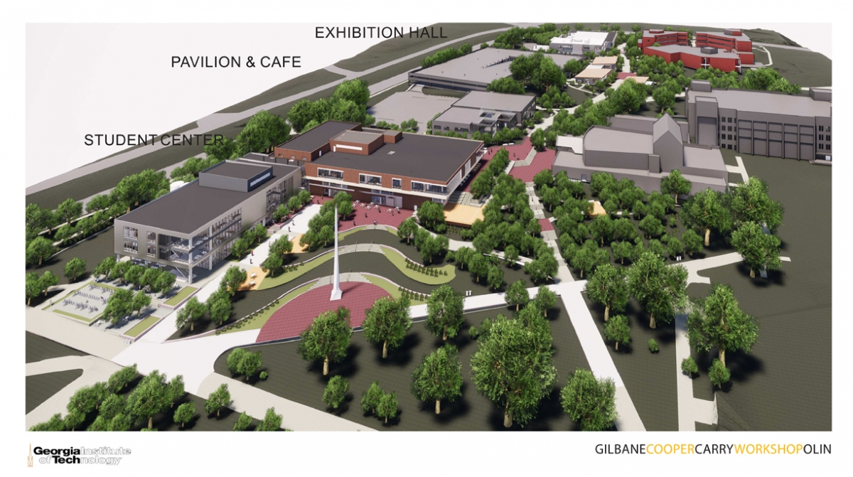 Site plan rendering for Campus Center
