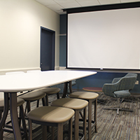 The Juniper Room shown here in fixed Boardroom setup