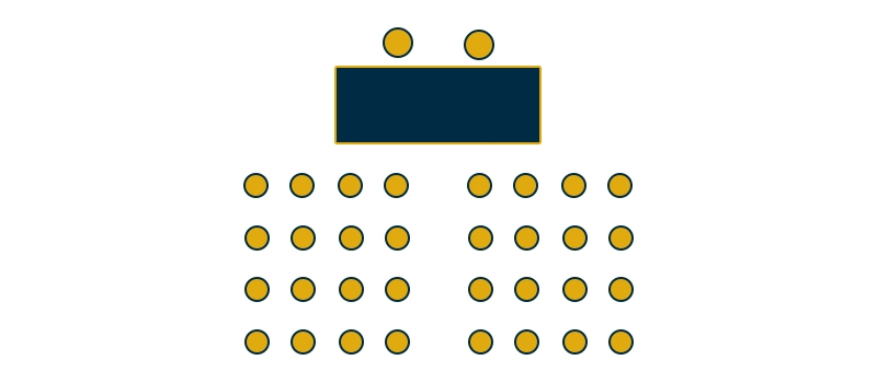 The lecture style is a theater style setup, with chairs facing a head table at the front of the room. It is suitable for lectures, speeches, presentations, movie watching, and performances. This setup allows for the most efficient use of space.